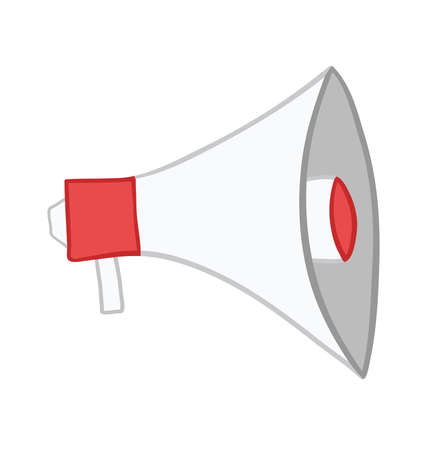Vector illustration megaphone. Hand drawn. Colored outlines. Фото со стока - 129770746