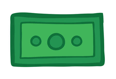 Vector illustration paper money. Hand drawn. Colored outlines.