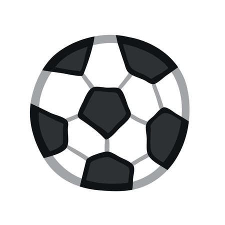 Vector illustration soccer ball. Hand drawn. Colored outlines.
