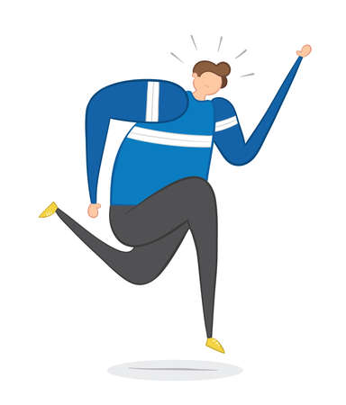 Vector illustration man running. Hand drawn. Colored outlines.