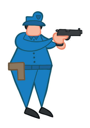 Vector illustration policeman pointing gun. Hand drawn. Colored outlines. 向量圖像