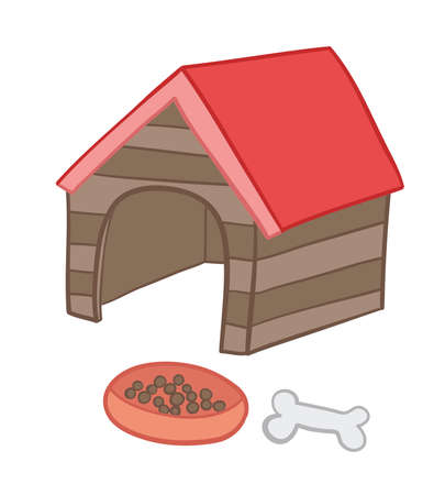 Vector illustration dog kennel, food and bone. Hand drawn. Colored outlines.