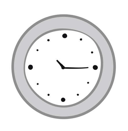 Vector illustration clock. Hand drawn. Colored outlines.