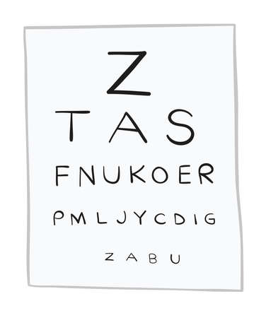 Vector illustration eye test chart, letters. Hand drawn. Colored outlines. Illustration