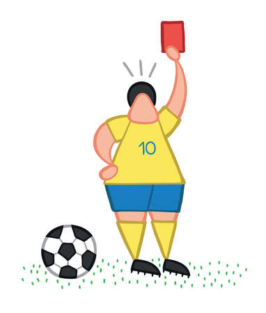 Vector illustration soccer player showing red card. Hand drawn. Colored outlines.