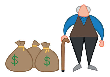 Vector illustration old man with dollar money sacks. Hand drawn. Colored outlines.