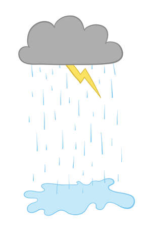 Vector illustration cloud, lightning and raining. Hand drawn. Colored outlines. Foto de archivo - 129770938