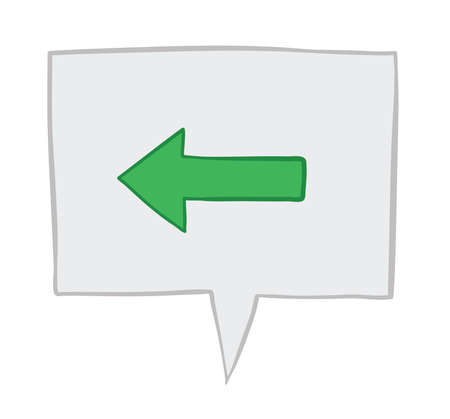 Vector illustration arrow showing left in speech bubble. Hand drawn. Colored outlines. Иллюстрация