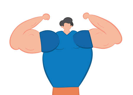 Vector illustration muscular man shows his arm muscles. Hand drawn. Colored outlines.