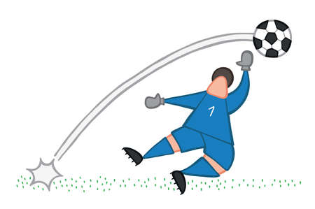 Vector illustration goalkeeper, shoot and goal. Hand drawn. Colored outlines.