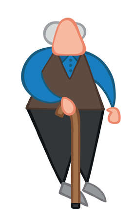 Vector illustration old man standing with walking stick. Hand drawn. Colored outlines.