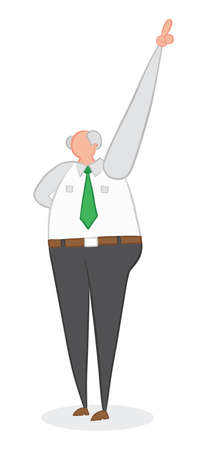 Vector illustration boss pointing up. Hand drawn. Colored outlines.