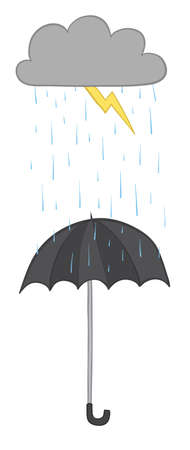 Vector illustration cloud, lightning, raining and umbrella. Hand drawn. Colored outlines.  イラスト・ベクター素材