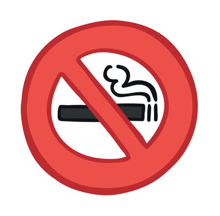Vector illustration smoking ban. Hand drawn. Colored outlines.