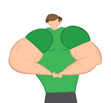 Vector illustration muscular man showing arm muscles. Hand drawn. Colored outlines.