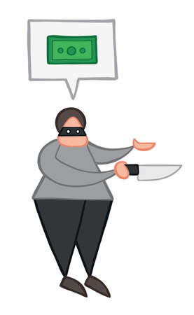 Vector illustration thief holding knife and wants money. Hand drawn. Colored outlines.
