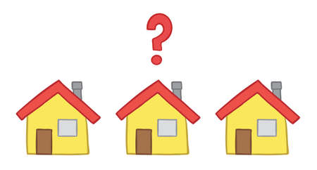 Vector illustration three houses and question mark. Hand drawn. Colored outlines.
