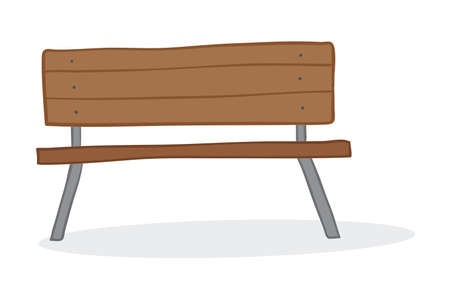 Vector illustration wooden seat. Hand drawn. Colored outlines. Stock Illustratie