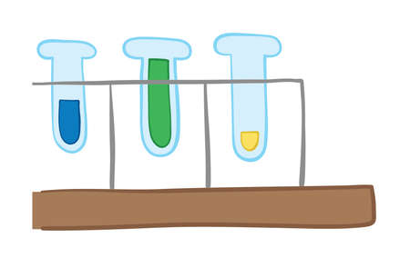Vector illustration glass test tubes. Hand drawn. Colored outlines. Stock Illustratie
