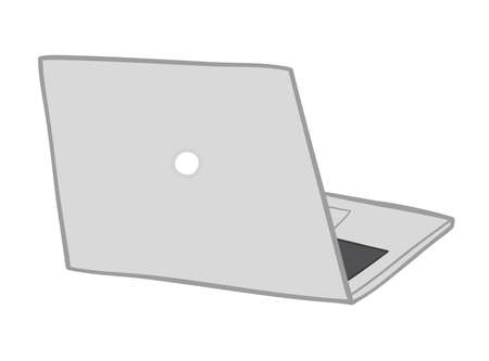 Vector illustration laptop computer. Hand drawn. Colored outlines.
