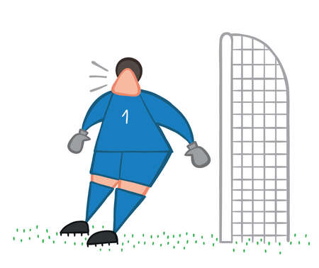 Vector illustration goalkeeper surprised. Hand drawn. Colored outlines.