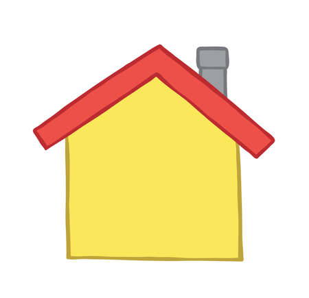Vector illustration house. Hand drawn. Colored outlines.
