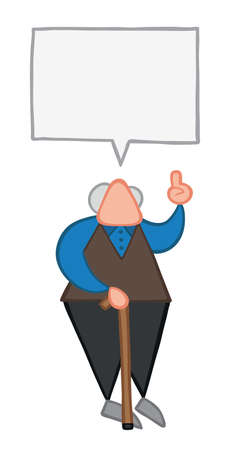 Vector illustration old man talking. Hand drawn. Colored outlines.