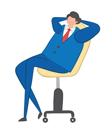 Vector illustration happy businessman sitting on office chair. Hand drawn. Colored outlines.
