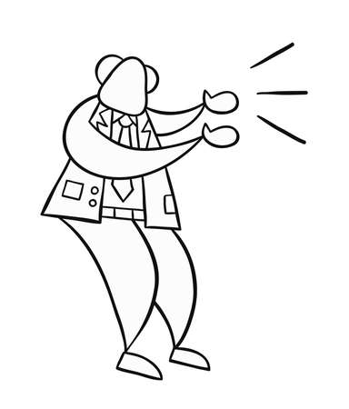 Hand-drawn vector illustration of boss angry and yelling. Black outlines and white.