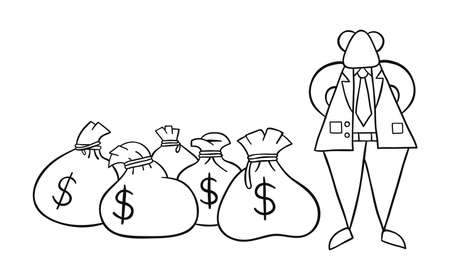Hand-drawn vector illustration of boss rich with dollar money sacks. Black outlines and white. Фото со стока - 131735846