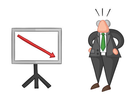 Hand-drawn vector illustration of boss with sales chart arrow down. Color outlines and colored. Illusztráció
