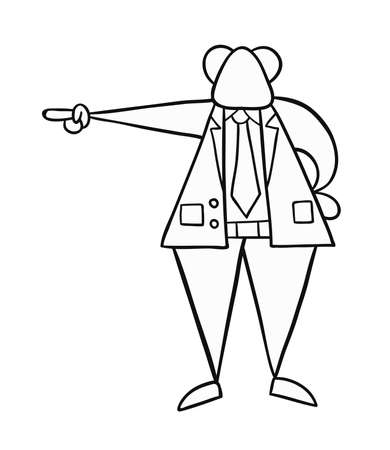 Hand-drawn vector illustration of boss pointing. Black outlines and white. Illustration