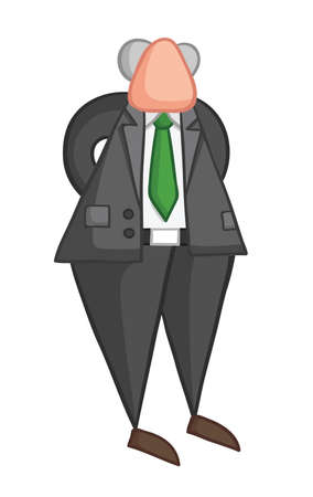 Hand-drawn vector illustration of boss standing and hands behind. Color outlines and colored.