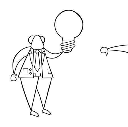 Hand-drawn vector illustration of boss holding bad light bulb idea and businessman showing thumbs-down. Black outlines and white.