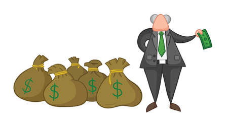 Hand-drawn vector illustration of boss with dollar money sacks and giving one money. Color outlines and colored. Фото со стока - 131735279