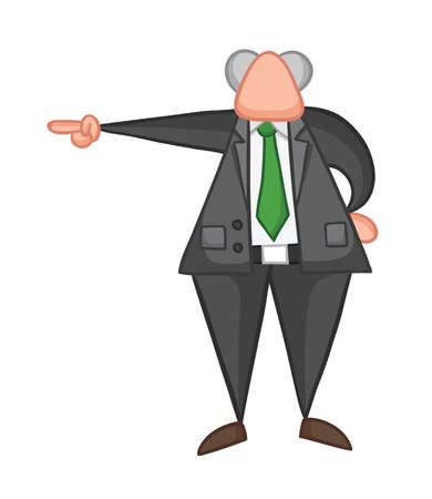 Hand-drawn vector illustration of boss pointing. Color outlines and colored.