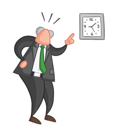 Hand-drawn vector illustration of boss angry and showing the time. Color outlines and colored.