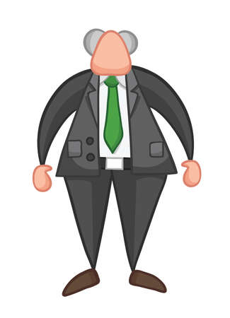 Hand-drawn vector illustration of boss standing. Color outlines and colored. Çizim