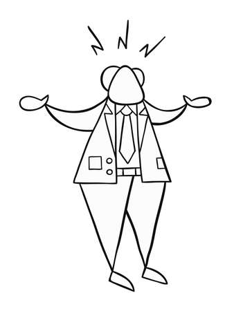 Hand-drawn vector illustration of boss angry. Black outlines and white. Illustration