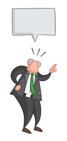 Hand-drawn vector illustration of boss angry and talking. Color outlines and colored. Illustration