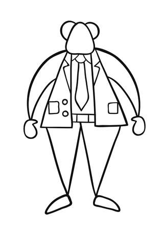Hand-drawn vector illustration of boss standing. Black outlines and white.