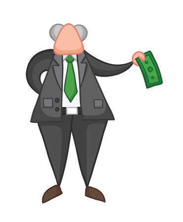 Hand-drawn vector illustration of boss giving money. Color outlines and colored.