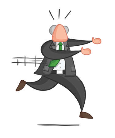Hand-drawn vector illustration of boss running away. Color outlines and colored.  イラスト・ベクター素材