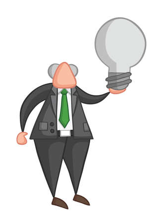 Hand-drawn vector illustration of boss holding light bulb. Color outlines and colored.