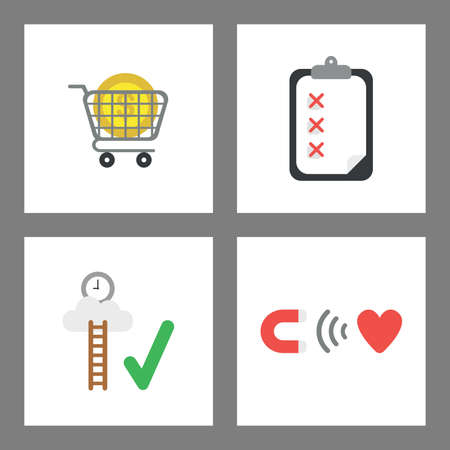 Vector icon concept set. Dollar money inside shopping cart, clipboard with x marks, reach clock on cloud, magnet attracting heart.