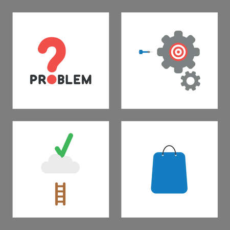 Vector icon concept set. Problem word with question mark, gears with bulls eye and dart, check mark on cloud with short ladder, shopping bag. Illustration