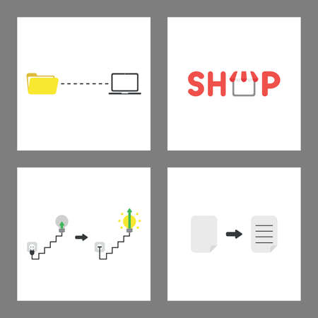 Vector icon concept set. File transfer to laptop, shop text with shop, plugged into outlet, glowing lightbulb and arrow up, written paper.