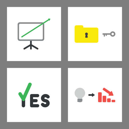 Vector icon concept set. Sales arrow moving out of chart, unlock or lock folder, yes with check mark, bad idea and decrease in sales.