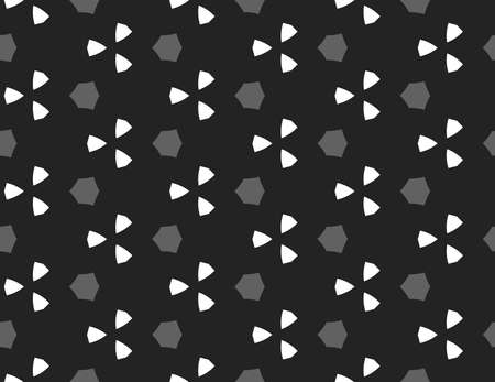 Vector seamless geometric pattern. Shaped grey hexagons, white triangles on black background.
