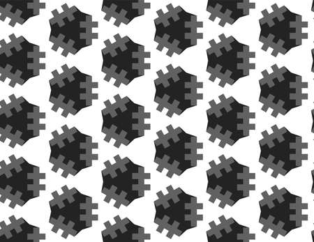 Vector seamless geometric pattern. grey and black lines, shapes on white background.  イラスト・ベクター素材